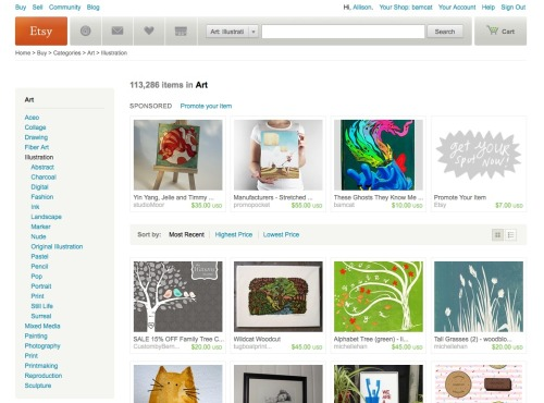 Showcased in the Illustration section of Etsy today!!! Eeee! My Etsy Shop