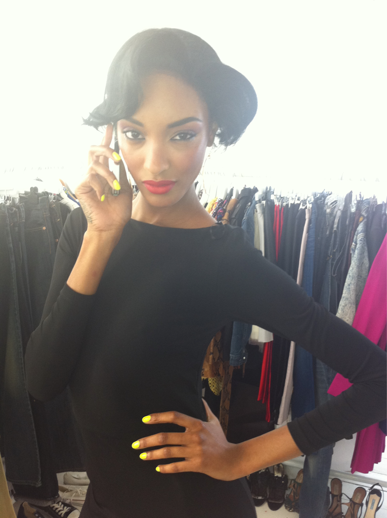 sosoflynails:  Jourdan Dunn YELLOW nails from the i-D magazine shoot