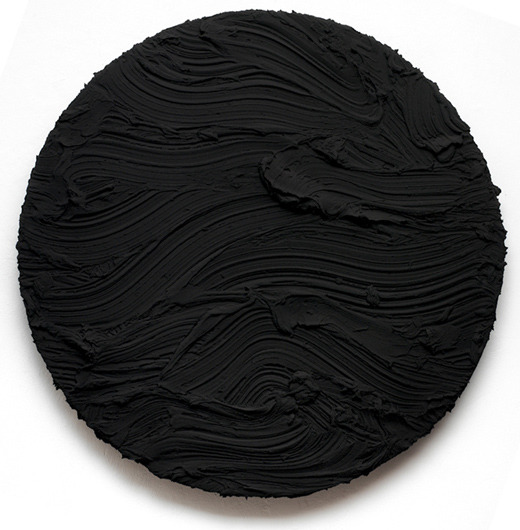 JASON MARTIN BLACK TONDO, 2010 Pure pigment on aluminium Diameter 165 cm (65 in) I saw my first Jason Martin piece at the Armory Show last year, I remember standing there memorized by the undulating waves and the way the piece seems give you the feeling that it's in a constant state of movement. Here's another piece - apparently the brilliance is not a fluke.