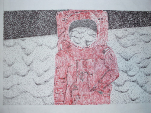 Astronaut. This was my first project of the new school year. Done in red and black ink.