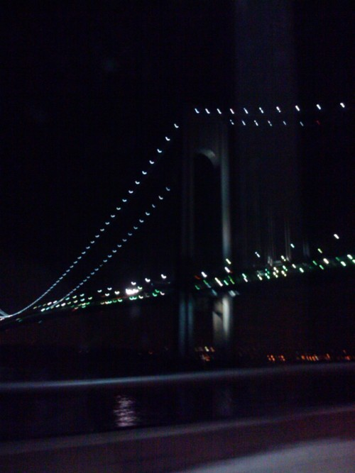 Mad blurry cuz I was in a car. Up in Brooklyn! lol, picture of the Verrazano-Narrows Bridge, overlooking Staten Island.