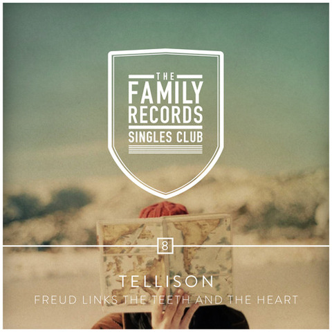 "Coming later today, the eighth installment of The Family Records Singles Club: Tellison - ""Freud Links The Teeth And The Heart"".  This is the artwork, designed by Jose and Edwin of ILoveMisery, based on a lovely photo by Spanish photographer Ana Cabaleiro.  Stay tuned for the audio post later today! -Emma"