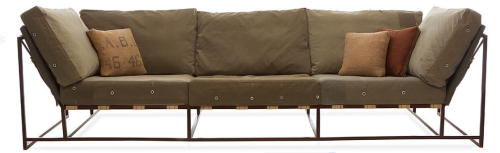 Military sofa by Stephen Kenn Designer Stephen Kenn has incorporated repurposed military fabric in its cushions, together with the leather and webbing supporting straps and open steel frame