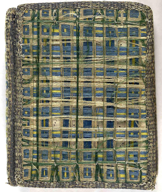 17th century satin embroidered book cover with threads of coloured silk 'woven' across upper and lower covers.  The Whole Booke of Psalmes (London, 1627) Collection: The British Library from Aria Nadii on Flickr