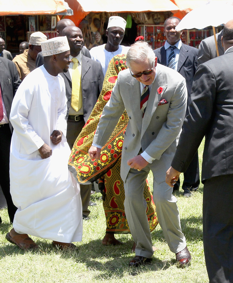 Photos of the dayPrince Charles takes part in a chapauringe dance in Stone Town Old Fort, Nov. 8, 2011 in Zanzibar, Tanzania. The Prince of Wales and the Duchess of Cornwall are on a four day tour of Tanzania. (Chris Jackson/Getty Images)