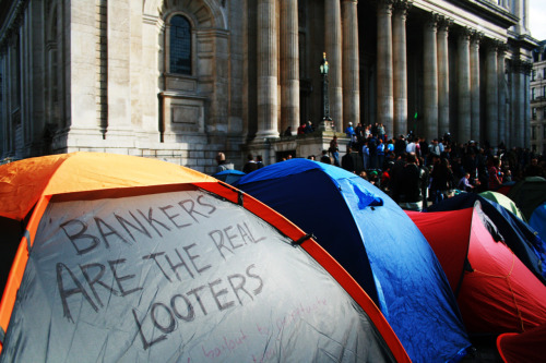 Occupy London protest - 'Bankers are the real looters' St Paul's Cathedral