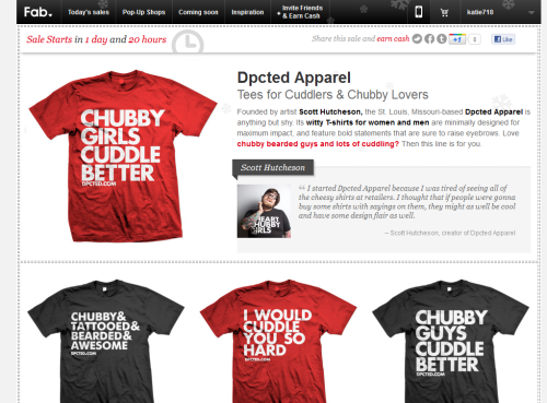 Dpcted Apparel will be taking part in one of Fab.com's crazy 72 hour sales STARTING THURSDAY. About Fab.com:  Fab.com features   daily design inspirations and  sales of up to 70% off retail. Free   membership by invitation only.   Limited quantities  You wont want to miss this! Be sure to sign up. Special Invite link: http://fab.com/bbd8yy
