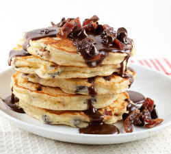 omgsexyfood:  Chocolate Chip & Candied Bacon Pancakes with Nutella Maple Syrup