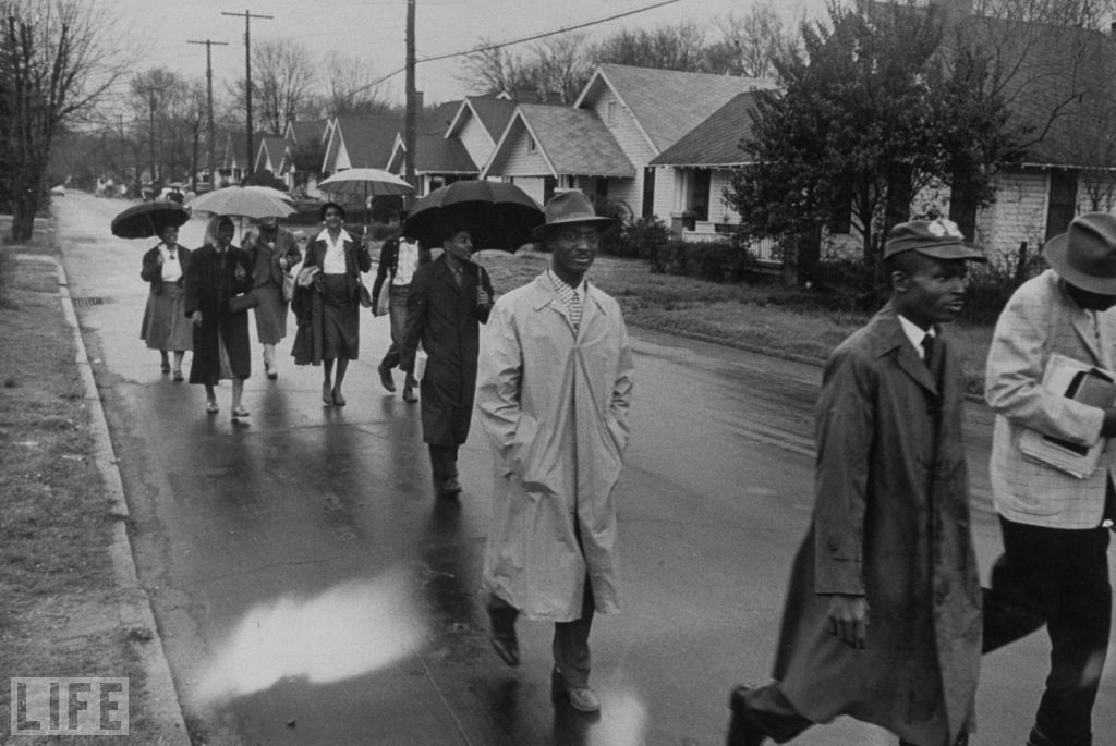 life:  Pictured — Day of Pilgrimage: Montgomery Bus Boycott, 1956 Today marks the 55th anniversary of the Supreme Court declaring Alabama laws requiring segregated buses illegal, ending the Montgomery Bus Boycott. (see more — Civil Rights: Rare Photos)