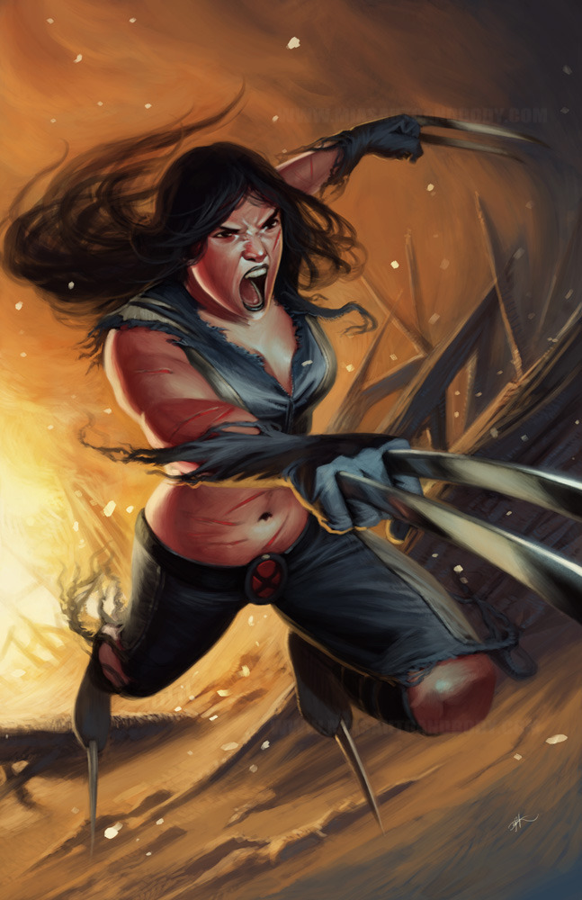 carrying on with more comic pics. x-23 ©Marvel done in Photoshop http://www.miasautoandbody.com