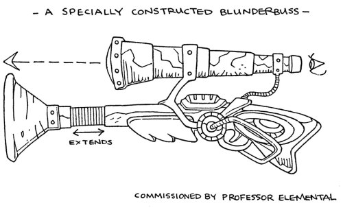 A specially constructed blunderbuss for Professor Elemental. Nice and steampunkish, I reckon this thing could do quite a bit of damage if fired but like He-man's sword and Wolverine's claws tis just for show. Seriously you can let your kids read this comic, I ain't killing anyone off in this outing. Well actually the Professor does step on an ant at one point but that panel cuts off at the waist so you don't see nothing.