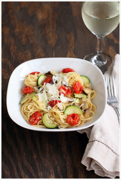 Pasta with Tomato, Eggplant & Zucchini Recipe