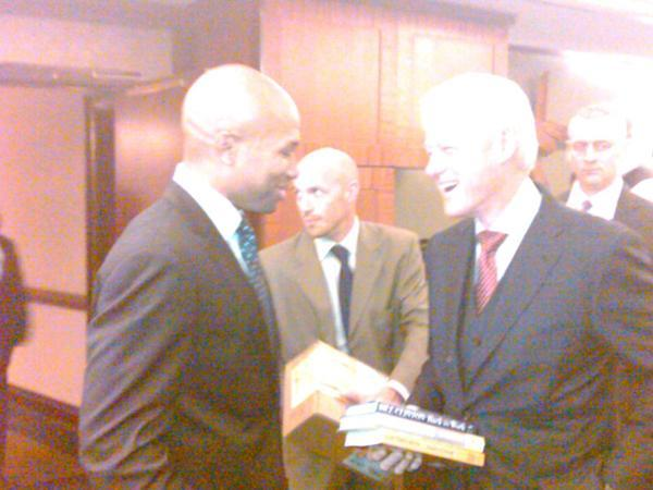 Rumors: Derek Fisher has a side deal with Bill Clinton to deliver him 50% of the 2012 electoral votes.  Can't wait for Jason Whitlock's next completely stupid column on how Bill Clinton actually wrote The Wire, sold weed to NBA players and rewrote the new CBA to save the NBA season before Christmas.   @Suga_Shane via Howard Beck