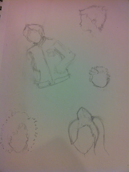 Posting more crap sketches. Working out some hair designs for a character for a comic that may never get written but oh well.