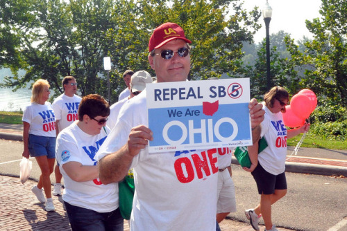 motherjones:  Today is D-Day for Gov. John Kasich's anti-union law. Ohioans went to the  polls on Tuesday in one of nation's the most anticipated off-year elections to decide  Issue 2, a referendum on whether to repeal Kasich's law that curtails  collective bargaining rights for public sector workers. It's shaping up to be a big win for labor, reports MoJo's Andy Kroll—but don't call the state for Obama in 2012 yet.