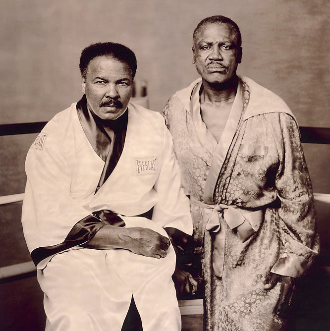 "It was easier to get Ali to pose than Frazier. Joe still resented all the torment Ali had caused him over the years. Ali had made all the money, too. Joe finally agreed to pose when we offered to go to his gym in Philadelphia.I knew it would be a difficult shoot because Ali had Parkinson's and, I learned that day, Frazier had diabetes. Ali walked in, and I set a stool in the ring for him to sit on. Joe said, ""What about me? Man, I can barely walk. My legs are killing me."" But they were happy, joking around and hamming it up in every shot.Near the end I switched from color to sepia film. I said, ""Look, guys, just stare at the camera. No smiles, no gags."" I did one frame, then a second, and there it was, the picture I was looking for: two battered warriors who'd left their lives in the ring. Photographed by Walter Iooss Jr./SI"