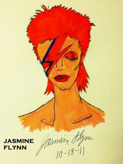 A David Bowie fan art drawing I drew referencing off his Aladdin Sane Album :)