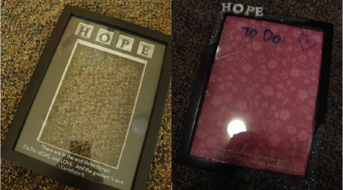 Before & After. I took a picture frame that I kinda like but was bored with and could never find a good picture to put in it…  Took some stuff apart, added scrapbook paper, painted & glitterized the letters, added some extra glitter to the frame & I have a pretty adorable dry erase board :) I <3 to-do lists.