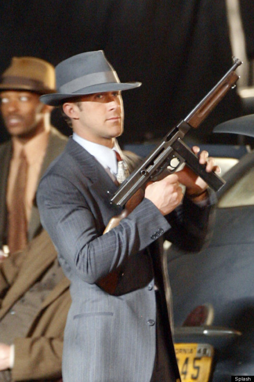 imwithkanye:  Ryan Gosling on the set of Gangster Squad. [See more]