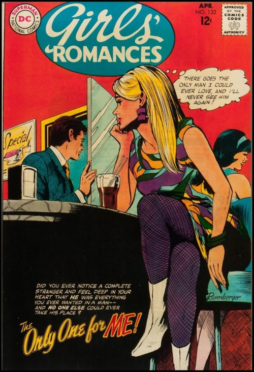 (via Fantasy Ink: A Groovy Kind of Love)  Girls' Romances #132, April 1968. Cover art by John Rosenberger.