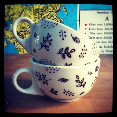 brookeweeberillustration:  Now in the shop, illustrated mugs!
