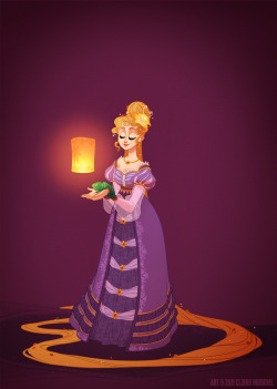 "LAST ONE. Bwuh. I adore Tangled for many reasons, but historical accuracy isn't one of them. It's actually the first Disney film that feels entirely set in its own fantasy world, with no real ties to any particular time period or setting- unless you count that ever-forgiving time period of ""Ren Faire."" Since this is the last one in the series (so far as official princesses go), I thought I'd treat myself and just have fun with it. I drew up concepts for both the 16th century (the slashed sleeves) and 18th (Keane's initial inspiration), but in the interest of choosing a time period I hadn't touched yet I ended up going with the late Regency. There are a ton of gowns circa 1820 that have those inimitably princessy sleeves, and those palace guards aren't fooling anyone. -Claire, who made a video for this but still needs to edit that nonsense together See the rest of the series HERE Read the FAQ HERE Buy prints HERE"