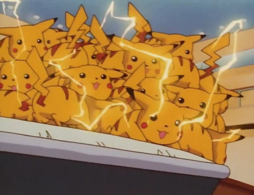 "a screenshot from ""Pokemon Emergency"" the gang of state sponsored pikachus that violently murdered two foot soldiers from a Veridian City crime syndicate, Jessie (age 17) and James (age unknown) the whereabouts of their ghosts is currently unknown"