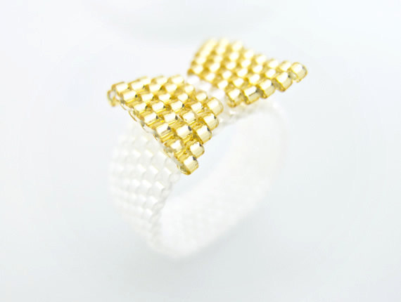 Gold Bow Ring Beaded on White Band by JeannieRichard