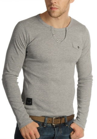 39% Off! Now £14 Longsleeve by CarismaSlim fit, high-quality cotton T-Shirt, mock row of buttons, faux breast pocket, patch on waistline, length in size m approx. 64cm, 100 cotton.More…