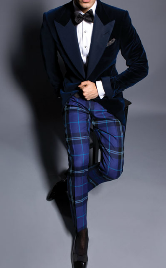 Tartan pants with opera pumps and velvet dinner jacket! BAD ASS! (I just hope he is wearing a waistcoat and not a cummerbund.)