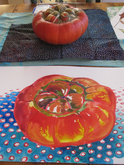 "For the Love of a Turban Squash and the Studio Stroll.                       Twice yearly in Asheville, a grand event called the Studio Stroll happens.  For two days (and really this event begins the day before, on Friday, when collectors and devoted locals pop in to see their favorite artists' studios before the throngs set in at 10 the next morning) thousands (!) of people get out of their cars and prowl the studios of the 150 or so artists working in the district.  It is amazing, really.  Amazing that for two days, a working neighborhood magically becomes (by a good 3 days of thorough scrubbing and artistic red-carpet rolling) a buzzing, mobbed shopping mall of completely handmade, one-of-a-kind objets d'art.                       The other special thing about the studio stroll, to me, is that you get to see artworks in the space where they were created.   You know how you get a whole new sense of someone when you see inside their home for the first time?  Well, it's the same for a work of art or craft.  To see the space in which a painting was created gives me so many more layers of understanding into the piece, not to mention the painter.  I treasure this suitcase full of knowing, of seeing deeply into the heart of a thing.                     And this doesn't even begin to describe the thrill, for me as an artist, to get to have unmediated and immediate feedback about the work I do from people of all stripes— from collectors to curious lookers.  Talk about insight!  Even more than that, I cherish knowing the folks who for whatever reason fall in love with a painting I've made and take it home.  I could write a hundred thankyou notes and send up a hundred grateful smoke signals to these beloved people and I still wouldn't feel satisfied that I have conveyed how important they and their decision to buy my work are to me.                       Although I'm far less involved in the Stroll than I used to be (in the time before parenthood known in my house as ""P.J.""), I still get a charge the week before the big event.  It's like nesting, but for artists.  I put all other chores/obligations/everything aside for a week and just paint.  It is the most delicious week of the whole year for me.  Something about the energy of the event, the anticipation of folks coming all the way from wherever to see our work, offers a sparkly, starry elixir that makes these two weeks my most creative and productive of the whole year.                       So here's a smoke signal to the god of that special relationship between people who make art and people who like to look at art:  I am so grateful, grateful, grateful…"