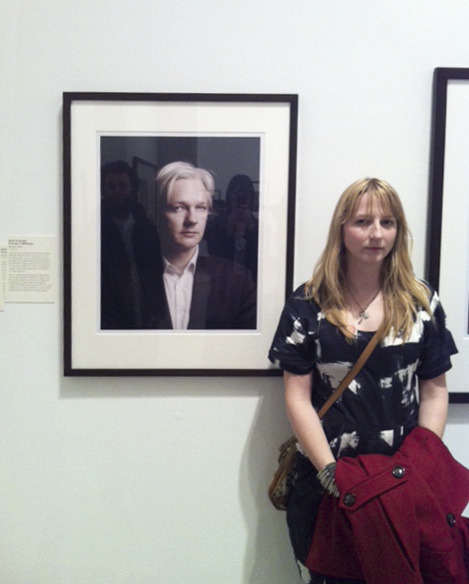 Me impersonating my portrait of Julian Assange at last nights Taylor Wessing opening. Possibly related…?