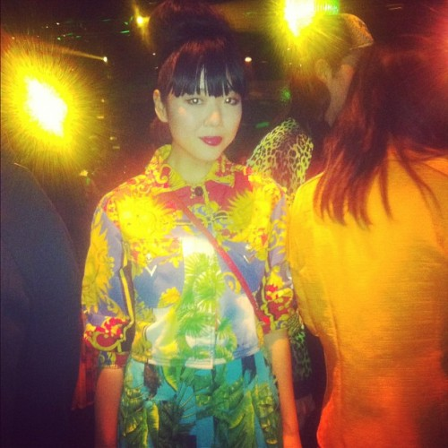 Susie Bubble at the Versace for H&M runway show last night. Photographed by Naomi Nevitt.