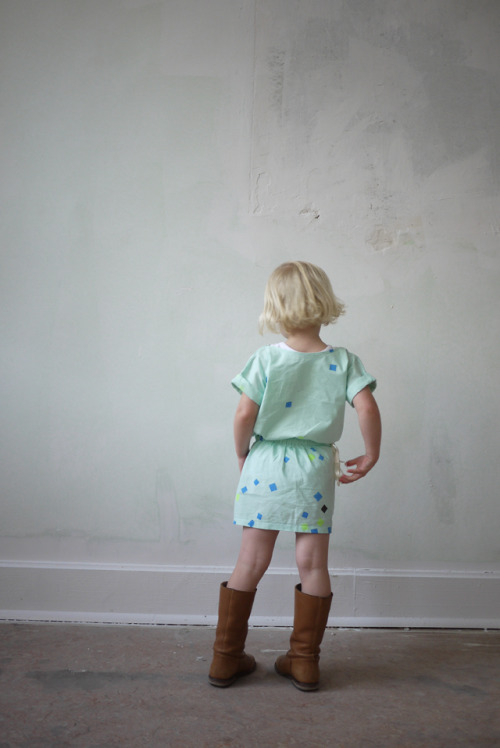 Annabel is wearing dress: handmade/-printed by 'oh my kids' boots: c' entre maman et moi
