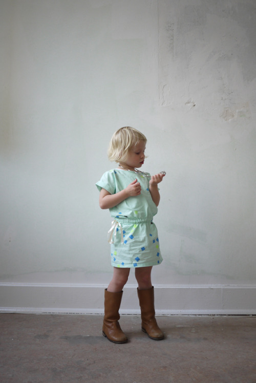 Annabel is wearing dress: handmade/ -printed by 'oh my kids' boots: c' entre maman et moi