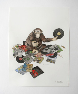 "Philipp Zurmöhle ""Fiend of Hip Hop"" - Pencil and water colour on paper, 31 x 41 cm"