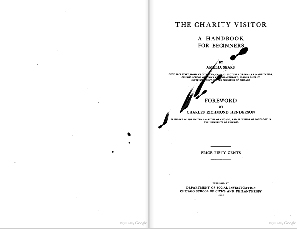 Spilled ink. From the title page of The Charity Visitor, by Amelia Sears, with forward by Charles Richmond Henderson (1913). [Here]
