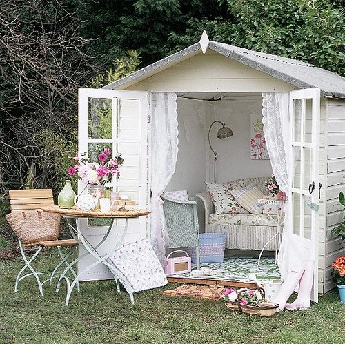 Convert a little-used backyard storage shed into a lovely outdoor cottage sitting room… the perfect spot for fresh air reading, relaxing, picnics… (via Love, Thomas)