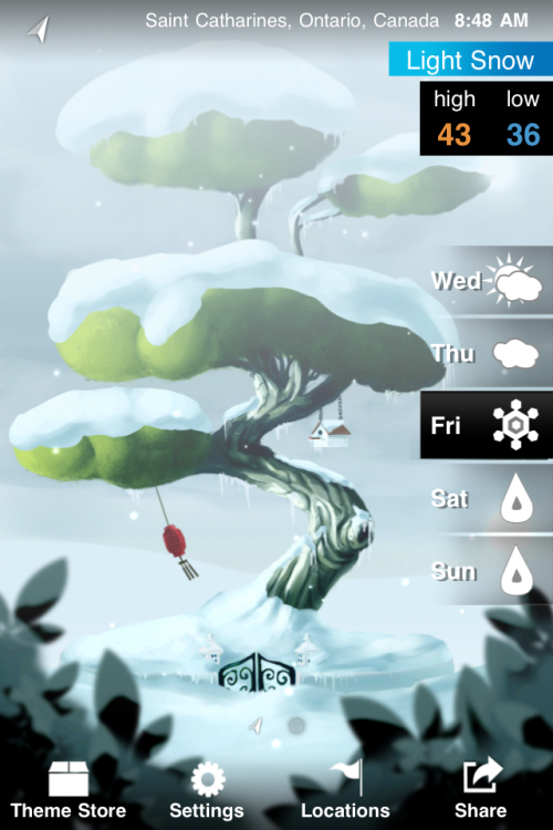 apptally:  Weatherwise is a new weather app for iOS. It's free, with in-app purchases for new themes. I normally prefer simpler design, but this graphical approach really works.