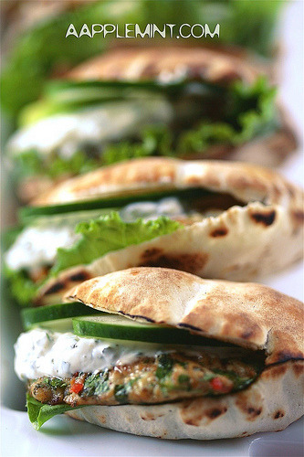 Recipe: Spiced Chicken Burgers with Greek Yogurt in Pita Bread Pockets (via Quick Fixes For That Odd Hungry Hour | Aapplemint)