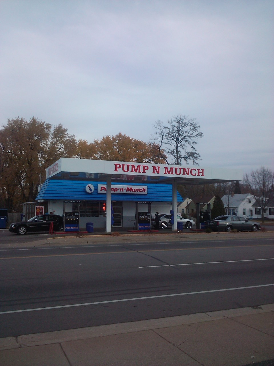 Pump N Munch - Robbinsdale  Two blocks from my house and it is the pride of the neighborhood. I even did you guys a solid and posted the user reviews from Yelp Minneapolis just to prove it.  This has to be the ghetto-est gas station around the immediate area. The service is friendly, and the guy who owns the place's wife is a bit of eyecandy for your shopping convenience, haha. All in all it looks like a spiffed up bodega, but its one of the only places besides the neighboring Hometown Market that always has my Black n Mild Woodtips in stock at all times… Quite often though they are out of gasoline, which leaves me to ask…. How does a C-store run out of gas… hmm… All in all I'd give this place 2 stars but they are always in stock with black n milds and the name is just epic. Not to mention the lil generic mario guy they have on their store sign. Awesome.  Dirty, ghetto, frequently out of gas.  Don't go here unless you have to.  Hands down, the greatest gas station name EVER. I never even got gas here.  I always though you were supposed to Munch before you Pump??  I giggle every time I drive by.
