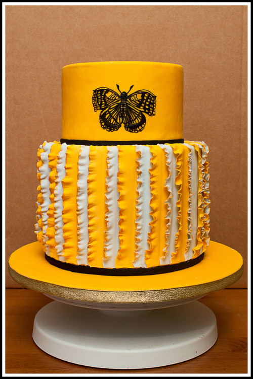 Yellow Butterfly Ruffle Cake