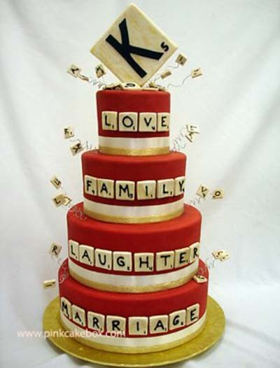 Scrabble Wedding Cake