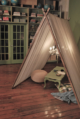 "Cute idea, a ""reading tent"" hideaway, complete with chandelier (by somethings hiding in here)"