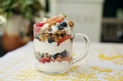gastrogirl:  mixed berry parfait with walnut coconut granola.