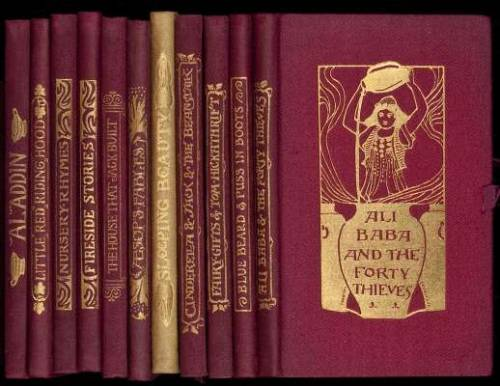 "Banbury Cross Series Grace Rhys. London, J.M. Dent, 1894-95.  Eleven volumes of children's books in the Banbury Cross series, with original folding box.   Includes: The Sleeping Beauty and Dick Whittington and His Cat. Illustrated by R. Anning Bell. * Aesop's Fables. Illustrated by Charles Robinson. Little Red Riding Hood & The History of Tom Thumb. Illustrated by H. Isabel Adams. * Aladdin: or the Wonderful Lamp. Illustrated by Sidney H. Heath. * Cinderella or the Little Glass Slipper and Jack and the Bean-Stalk. Illustrator not identified. * The Fairy Gifts and Tom Hickathrift. Illustrated by H. Granville Fell. * Blue Beard and Puss in Boots. Illustrated by R. Heighway. * The History of Ali Baba and the Forty Thieves. Illustrated by H. Granville Fell. * Banbury Cross & Other Nursery Rhymes. Illustrated by Alice B. Woodward. * Fireside Stories. Illustrated by Alice M. Mitchell. * The House That Jack Built & Other Nursery Rhymes. Illustrated by Violet M. & Evelyn Holden. Together, 11 volumes. 14.5x9 cm. (5¾x3½""), 1st in light green cloth, others in burgundy cloth, all decoratively stamped & lettered in gilt on front covers and spines, top edges gilt, others untrimmed, ribbon ties, pictorial endpapers by R. Anning Bell; folding burgundy cloth case pictorially stamped in gilt.  Charming set of the Banbury Cross children's books, presenting classic tales, with notable illustrators of the late 19th century. There is a little space left in the box, perhaps there was one more at one time, and the first is a different color cloth."