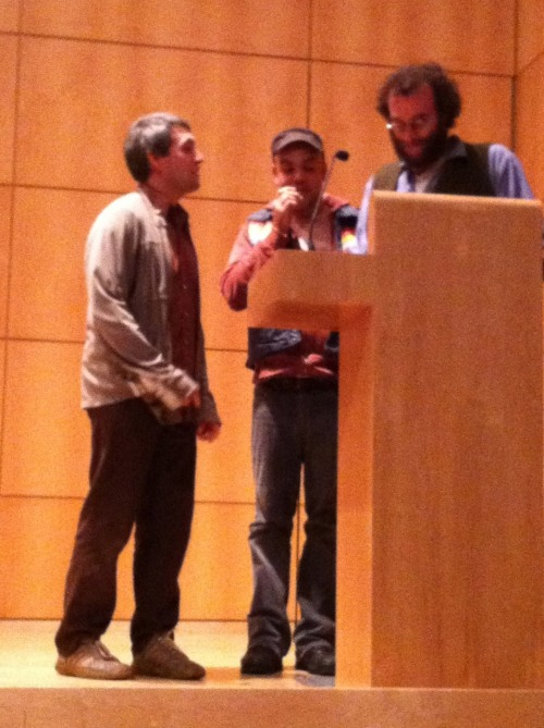 Jonathan Way, Alejandro de Acosta, and Joshua Beckman read poems from Micrograms in Japanese, Spanish, and English.