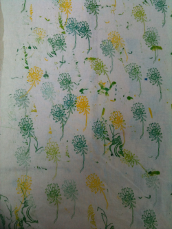 Messy floral print using reactive dyes on cotton. Productive morning :D