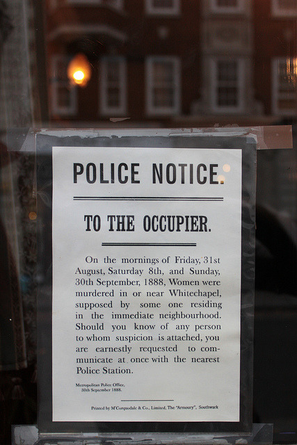 14creativeway:  Police notice from 1888, Sherlock Holmes Museum, London on Flickr.