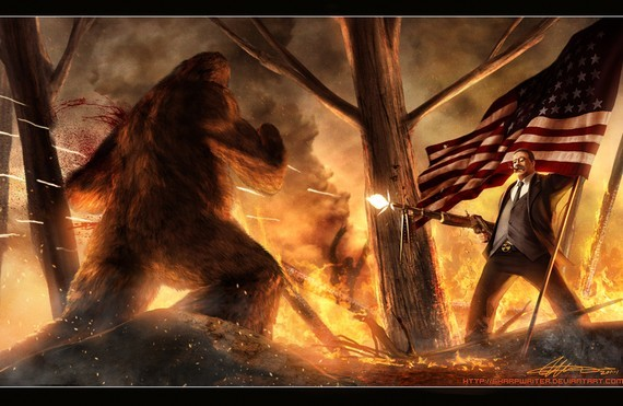 TEDDY ROOSEVELT vs. BIGFOOT This is artwork done by Jason Heuser. Please check out/purchase/send him letters of appreciation. I have been a fan of his work ever since I saw his Lincoln on a Bear. He's very talented and I guarantee if you buy this and hang it in your house/apt/dorm people will think you are at least 5.56% more awesome. That's science!
